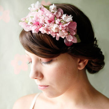 pink flower tiara with vintage flowers 'primrose' by whichgoose