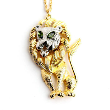 Vintage Lion Necklace - Gold & Silver Tone Statement Green Marquise Rhinestone Eyes Figural Animal Costume Jewelry / Roar