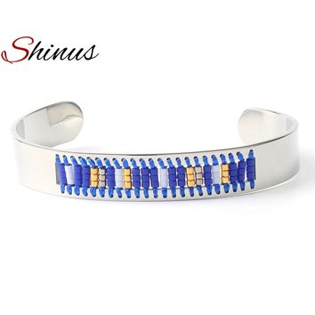 Shinus Trendy Cuff Bracelet Men Love Bangle Bracelets Women Jewelry Bohemian Stainless Steel Seed Beaded Handmade Fashion 2018