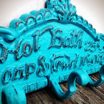Seaside Aqua Turquoise Blue Bath Sign Wall Hook - Nautical Beach Vintage Inspired - Shabby Chic