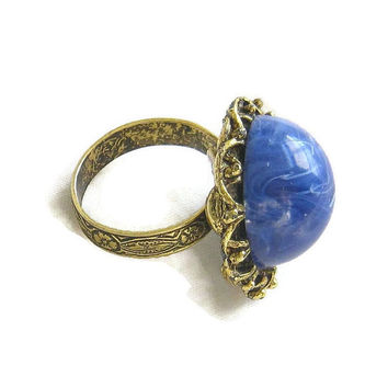Vintage Blue and White Swirl Lucite Plastic Cabochon Domed Filigree Ring Size 6 Adjustable