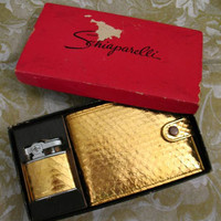 Vintage 50s SCHIAPARELLI Wallet and Lighter Gold Snakeskin NIB