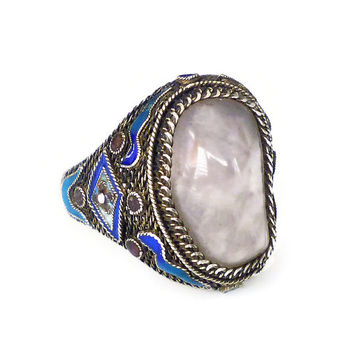 Chinese Export Ring, Silver Filigree, Rose Quartz, Blue Enamel, Made in China, Vintage Jewelry