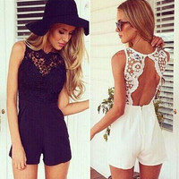 Womens Casual White Black Overalls Shorts