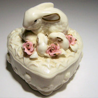 Porcelain Rabbit Trinket Box, Mother Bunny with Babies, Pink Roses, Heart Candy Box, Easter Home Decor 218