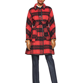 Kate Spade Woodland Check Coat Fairytale Red