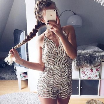 Deep V-Neck Backless Sequined Romper Jumpsuit