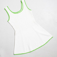 Vintage 1970s Tennis Dress - White & Green Knit Ribbed Acrylic Mini Dress 70s - Small S