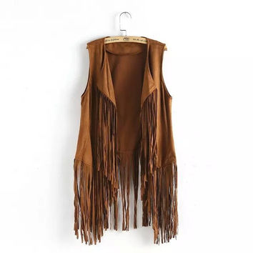 Solid Faux Leather Tassel Sleeveless Vest Coat