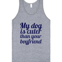 My dog is cuter than your boyfriend-Unisex Athletic Grey Tank