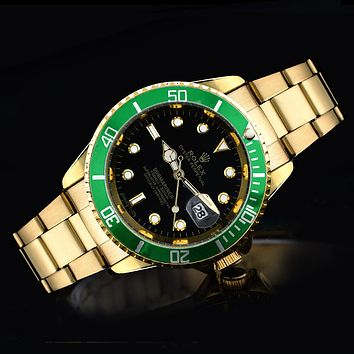 Rolex tide brand fashion men and women fashion watches F-SBHY-WSL Gold + Green Case + Black Dial