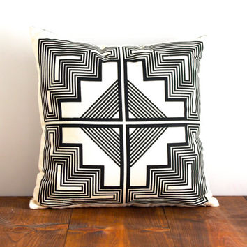 Native Quilt Pillow - Onyx / Black - Screen Printed Organic Cotton