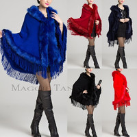 Maggie Tang Fashion Womens Winter Knit Tassels With Hood Cloak Faux Fur Coats = 1932477636