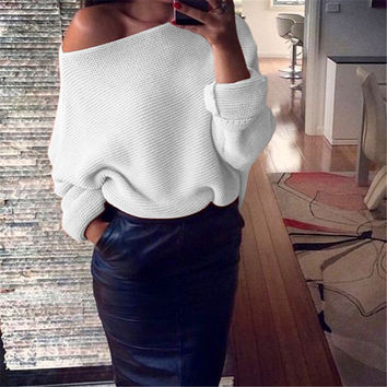Sexu off shoulder elastic winter sweater women Black gray Red pullover sexy white jumpers Autumn bodycon basic knitwear top