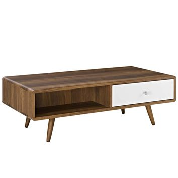 Transmit Mid-Century Style Coffee Table Walnut / White Lacquer