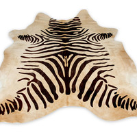 One Kings Lane - Palm Beach Brights, Brass Animals & Beyond -  Zebra on Hide Rug, 7' x 5'