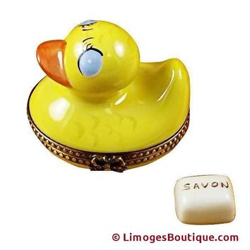 RUBBER DUCK W/YELLOW SOAP LIMOGES BOX
