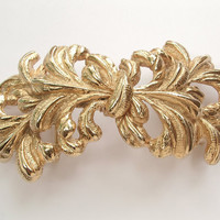 vintage art nouveau belt buckle, Mimi di N, 1985, gold feathers womens gold belt buckle