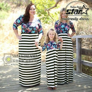 Christmas Dress Mother Daughter Dresses Family Matching Outfits Mom Kids Baby Girl Family Look Long Sleeve Stripe Dresses