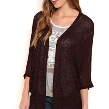 Textured Sweater Knit Cardigan with Elbow Length Sleeves