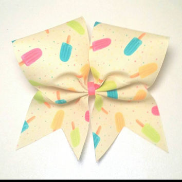 Popsicle Cheer Bow- 3 Inch Texas Size - Cheer Party - Theme Practice - Birthday Gift - Ponytail Accessory