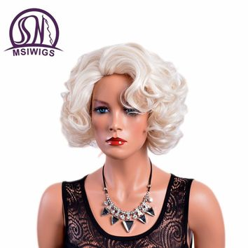 MSIWIGS Curly Short White Color Wigs Synthetic Hair Ombre Wig for Women High Temperature Fiber Free Hair