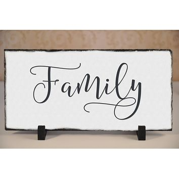 Handmade and Customizable Slate Home Sign - Family