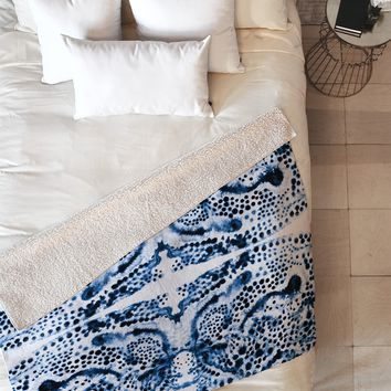 Elisabeth Fredriksson Symmetric Dream Blue Fleece Throw Blanket