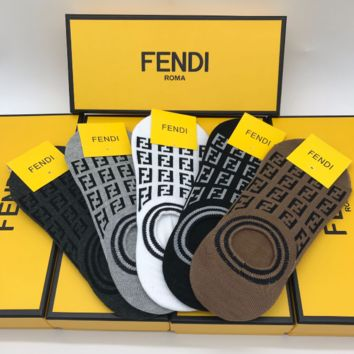 FENDI Embroidered Ankle Socks with Box