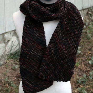 Hand Knit Scarf - diagonal pattern squishy maroon brown and black color
