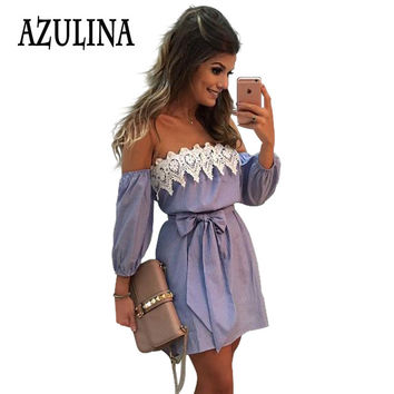 AZULINA Plus Size Elastic Sexy Off Shoulder Blue Striped Mini Dress Women Girl Casual Short White Applique Party Dress With Belt