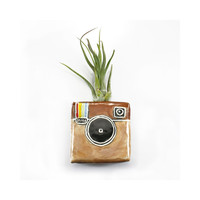Instagram Magnetic Bud Vase holds water, flower, air plant, pen holder - brown, beige, iphone app decor storage vase, made to order