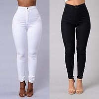 Women Pencil Casual Denim Skinny Jeans Pants High Waist Slim Jeans Trousers US