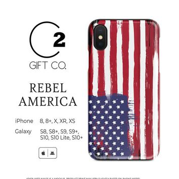 Rebel America - Heavy Duty Shock Absorption Phone Case Cover For Iphone X, Xr, Xs, 8, 8+ & Samsung Galaxy S10, S10+, S9, S9+, S8, S8+