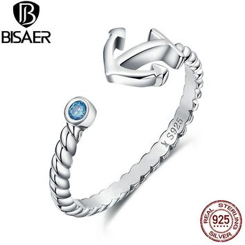 Hot Sale Genuine 925 Sterling Silver Light Blue Stone Anchor Open Finger Rings for Women Vintage Sterling Silver Jewelry Gift
