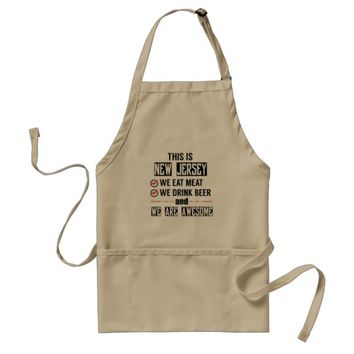 New Jersey Eat Meat Drink Beer Awesome Adult Apron