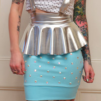 Silver and Studs Suspender Ruffle Skirt in Blue