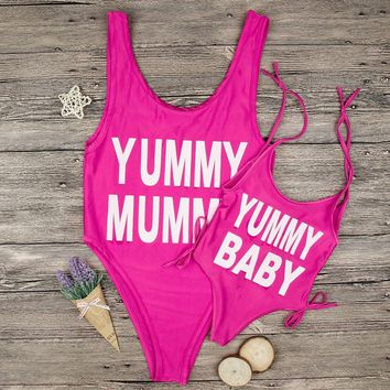 Yummy Mummy Yummy Baby - Mother-Daughter Matching One-Piece Swimsuit - Casual Beach Wear
