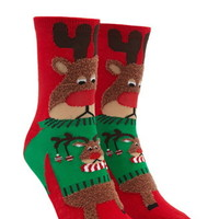 Reindeer Graphic Crew Socks