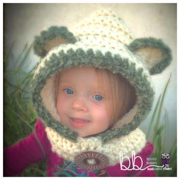 RTS Hooded Bear Cowl (crochet) - 1-3 year - Only One