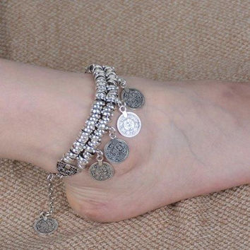 Vintage Dull Polish Punk Coin Tassel Indian Boot Anklet