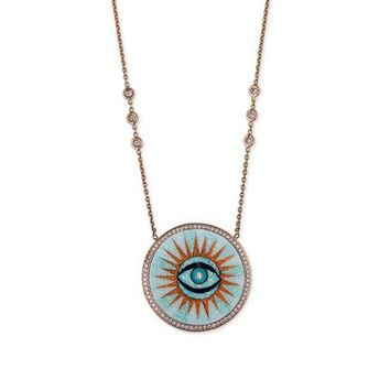 Jacquie Aiche 14k Opal Inlay Eye Pendant Necklace w/ Diamonds