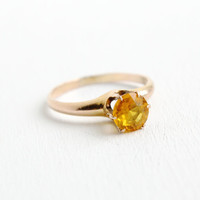 Antique 10K Rosy Yellow Gold Shell Citrine Yellow Glass Stone Ring - Vintage Art Deco Size 7 Raised Solitaire Jewelry