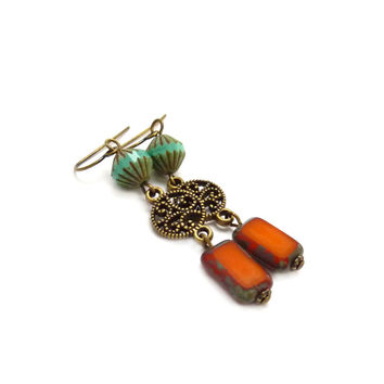 Turquoise & Orange Bohemian Earrings - Picasso Czech Glass - Fluted Beads - Bronze Filigree - Long Bohemian Dangles