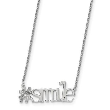 Sterling Silver Rhodium-plated CZ 18in Hashtag Smile Necklace