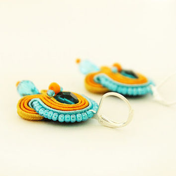 Hand embroidered soutache earrings, colorful earrings, orange blue earrings, soutache jewelry, bright drop earrings, small soutache earrings
