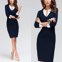 Sexy Women 3/4 Sleeve Slim Bodycon Party Evening Cocktail Office Work Pencil Dress Midi Dress = 1956710468