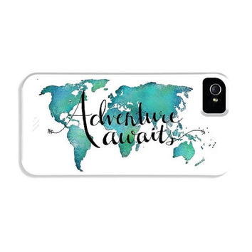 iPhone Case Quotes World Map Case - Travel Art Phone Case Map - Adventure Awaits Teal iPhone Case - Wanderlust Gift for Travelers World Map