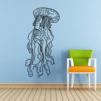 Jellyfish Wall Decal Scuba Tentacles Deep Sea Ocean Fish Wall Decals Vinyl Sticker Interior Home Decor Vinyl Art Wall Decor Bedroom SV5815
