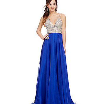 JVN by Jovani Beaded-Illusion-Neck Gown | Dillards.com